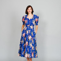 Floral 80s Dress - 1980s Dress - Amesbury