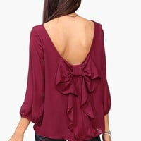 Waldorf Bow Blouse in Burgundy
