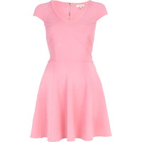 Pink structured cap sleeve skater dress - skater dresses - dresses - women