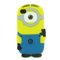 3D Cartoon Despicable Me 2 Minions Monster Soft Silicone Case For i Phone 4S 4 5