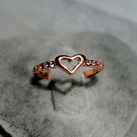 Cute Hollow Heart and CZ Ring