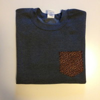 Unisex Custom Patch Pocket Crew Neck Sweatshirt- Cheetah Print from EEHCUOY