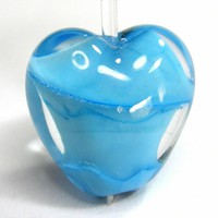 Heart Bead Creamy Blue Skies Encased Handmade Lampwork Bead Matrix SRA