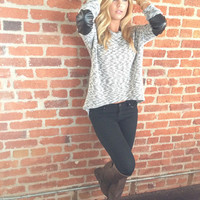 Grey Leather Elbow Knit Top