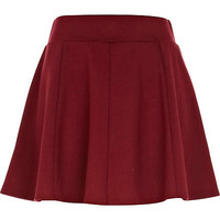 Dark red jersey skater skirt