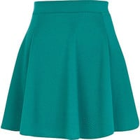 Dark green textured skater skirt