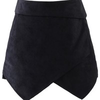 Faux Leather Asymmetric Shorts in Black