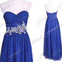 Strapless Sweetheart Long Royal Blue Chiffon Prom Dresses, Evening Gown, Wedding party Dresses, Blue Formal Gown
