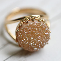 Peach Druzy ring - Bridal ring - 14k Gold ring - Drusy ring, Champagne stone ring, 16mm stone, Vintage ring, Cocktail ring, bridesmaid gift