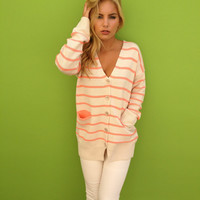 Coral Stripe Oatmeal Button up Sweater