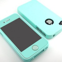 Bessi Glossy Silicone Case Cover for Iphone 4 4S 4G Carrying Case with Matching Color Screen Protector Film Skin Home Button -Mint Green-:Amazon:Cell Phones & Accessories