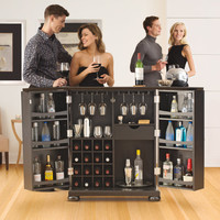 Alexandria Expandable Home Bar Liquor Cabinets at Brookstone—Buy Now!