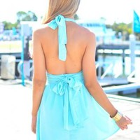 Mint Halter Dress with Open Back Bow Detail