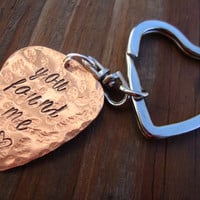 You found me hammered hand stamped copper guitar pick key chain