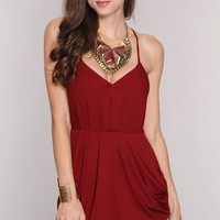 Maroon Deep V Neck Crossover Drape Sexy Mini Dress