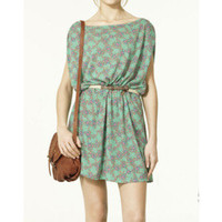 Dark Green Floral Belt Sleeveless Dress -Reecn.com - Polyvore