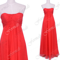 Strapless Sweetheart Long Chiffon Red Prom Dresses, Red Bridesmaid Dresses, Wedding Party Dresses, Formal Gown