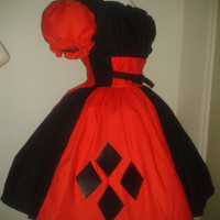 Harley Quinn Harlequin Halloween Costume Cute Dress Red and Black Custom Size Made to Measure including Plus Sizes
