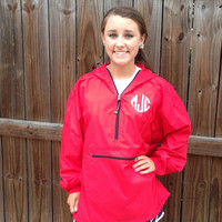 Monogrammed preppy rain jacket/pullover by christylous on Etsy