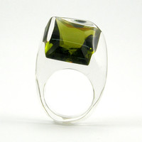 Green Olive Crystal Ring, Clear Resin Ring with Square Deep Forest Zirconia, Modern Jewelry