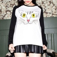 Contrast Sleeves Cat Face Sweatshirt
