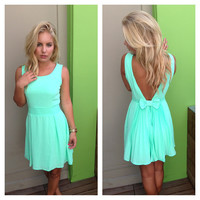 Neon Mint Bow V-Back Dress