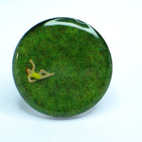 Bather on grass. Resin ring. Modern jewelry. resin jewelry. Adjustable ring. Cocktail ring. Miniature ring. OOAK