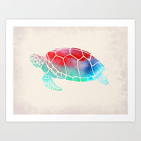 Watercolor Turtle Art Print by Jacqueline Maldonado