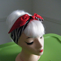 Rockabilly Zebra/Solid Red  Pin up style Headband / by Missssally