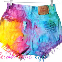 Vintage Levis RAINBOW Marbled Dyed Denim Destroyed High Waist Cut Off Shorts S