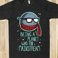 Hipster Pluto-Unisex Athletic Black T-Shirt