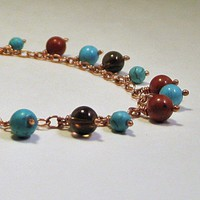 Dangle Copper Collar Necklace Turquoise Red Jasper and Smoky Quartz | LaraJordanJewelry - Jewelry on ArtFire