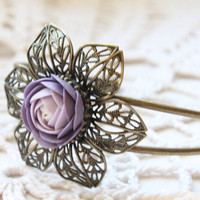 Bracelet with Purple Ranunculus  Free Shipping by eteniren on Etsy
