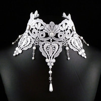 White Victorian Choker Necklace  Lace Bridal Jewelry  by Arthlin