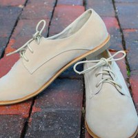 Ivory Suede Lace Up Oxfords