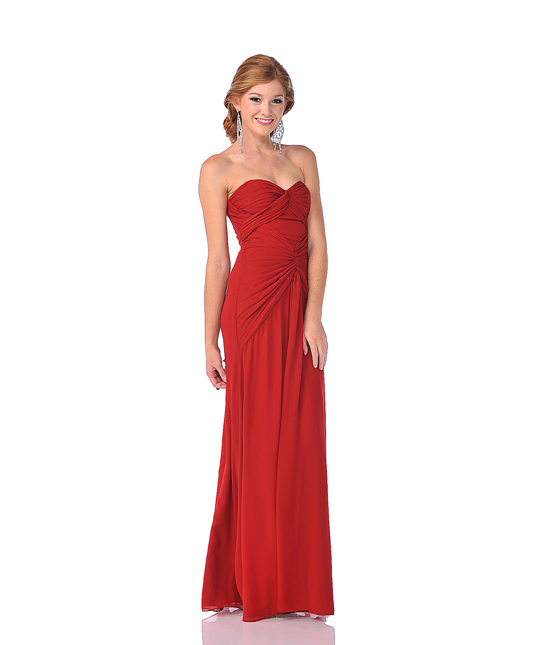 Red Gathered Draping Chiffon Strapless from Unique Vintage