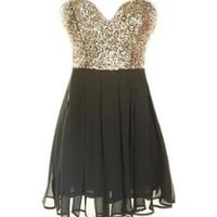 Gold Sequin Sweetheart Dress