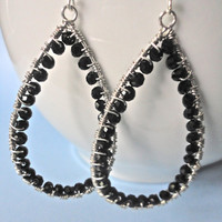 Big Girl Black Beaded Hoop Earrings by ASimpleKindOfFancy