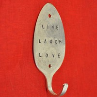 LIVE LAUGH LOVE Stamped Spoon Hook by jjevensen on Etsy