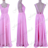 Floor Length Straps V neck Chiffon Pink Long Prom Dresses, Pink Formal Gown, Evening Gown, Wedding Party Dresses