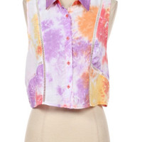 Pre-Sale Button Down Tie Dye Sleeveless Top
