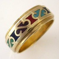 14k Yellow Gold Stone Inlay Band | DougPetersonJewelers - Jewelry on ArtFire