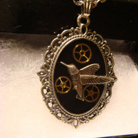 Steampunk Pendant Necklace with Hummingbird and Gears (1166)