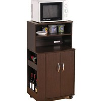 ABC Kitchen Microwave Cart with Spice Rack and Electrical Socket Espresso Finish