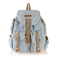 Light Blue Jeans Denim Backpack