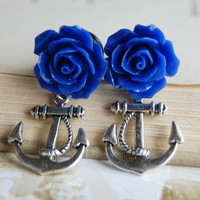 0g 8mm Royal Blue Rose Anchor  Plugs for by theriveriseverywhere