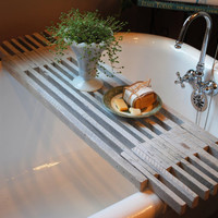 Farmhouse White Wash Bathtub Caddy Shelf
