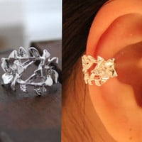 Rose on the Vine Single Ear Cuff | LilyFair Jewelry