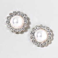 Crystal Framed Pearl Stud Earrings  | Claire's