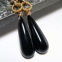 Tapered Black Onyx Teardrop Earrings - 14KGF - 22KT Gold Vermeil | NightSkyJewelry - Jewelry on ArtFire